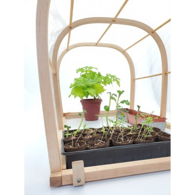 Mini-greenhouse ''LET'S GROW'' in wooden domed 36 '' x 26 '' x 24 ''H for seedlings, vegetables and plants